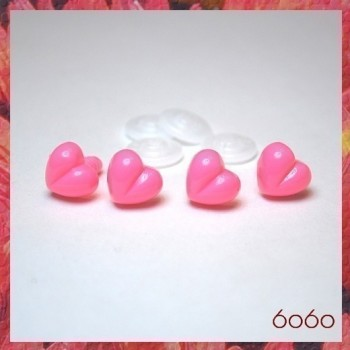 4pcs 13mm PINK Heart-Shaped Plastic noses, Safety noses, Animal Noses