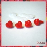 4pcs 13mm RED Heart-Shaped Plastic noses, Safety noses, Animal Noses
