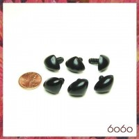 6pcs 18mm BLACK Triangular Plastic noses, Safety noses, Animal Noses