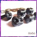 6pcs 20mm BLACK Bear/Dog Plastic noses, Safety noses, Animal Noses