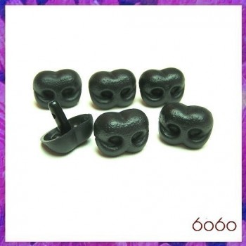 6pcs 25mm BLACK Bear/Dog Plastic noses, Safety noses, Animal Noses