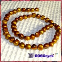 Pearls:16 inch Golden Bronze-colored Potato Pearl String