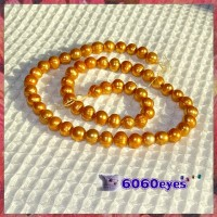 Pearls:16 inch Gold-colored Potato Pearl String