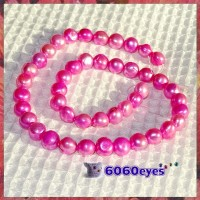 Pearls:16 inch Pink-colored Potato Pearl String