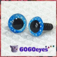 1 Pair  Blue Polka Dot Hand Painted Safety Eyes Plastic eyes