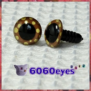 1 Pair  Brown Polka Dot Hand Painted Safety Eyes Plastic Eyes