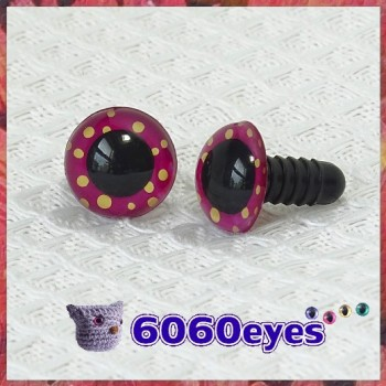 1 Pair Fuschia Dots Hand Painted Safety Eyes