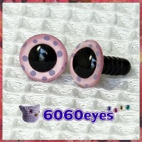 1 Pair Pink Polka Dots Painted Safety Eyes