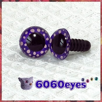 1 Pair Purple Polka Dots Painted Safety Eyes