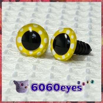 1 Pair Yellow Polka Dot Hand Painted Safety Eyes