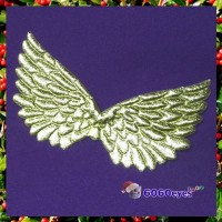 Angel Wings: 4 3/4 Inch (120.65mm) Gold Embossed Wing (set of 2)