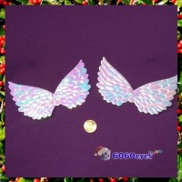 Angel Wings: 4 3/4 Inch (120.65mm) Opalescent Embossed Wing (Set of 2)