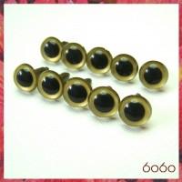 5 PAIRS 10.5mm Gold Plastic eyes, Safety eyes, Animal Eyes, Round eyes