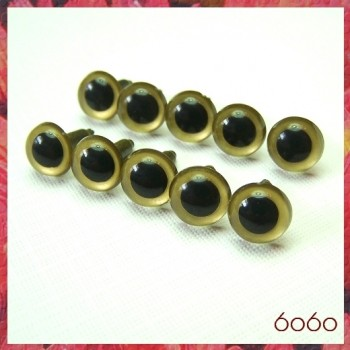 5 PAIRS 10.5mm Gold Plastic eyes, Safety eyes, Animal Eyes, Round eyes