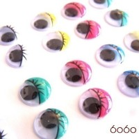 15 PAIRS 10mm Mixed Painted Plastic eyes, Wiggly eyes, Animal Eyes, Round eyes