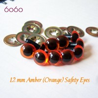 5 PAIRS 12mm Amber Plastic eyes, Safety eyes, Animal Eyes, Round eyes