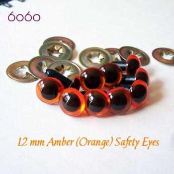 5 PAIRS 12mm Amber Plastic eyes, Safety eyes, Animal Eyes, Round eyes