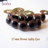 5 PAIRS 12mm Brown Plastic eyes, Safety eyes, Animal Eyes, Round eyes