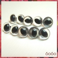 5 PAIRS 12mm Clear Plastic Cat eyes, Safety eyes, Animal Eyes, Round eyes