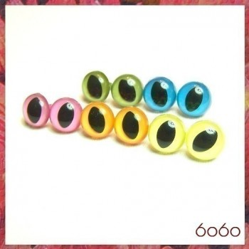 5 PAIRS 12mm Mixed Opaque Colors Plastic Cat eyes, Safety eyes, Animal Eyes, Round eyes