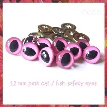 5 PAIRS 12mm Pink Plastic Cat eyes, Safety eyes, Animal Eyes, Round eyes