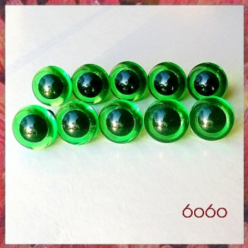 5 PAIRS 12mm Transparent Green Cat eyes, Safety eyes, Animal Eyes, Round eyes