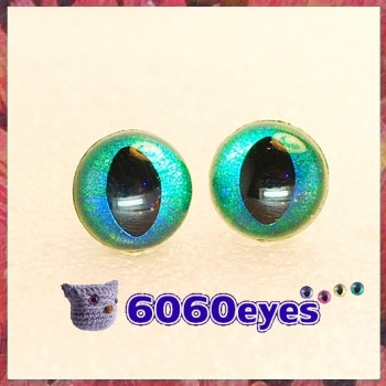 1 Pair  Hand Painted Blue Emerald Cat Eyes Safety Eyes Plastic Eyes