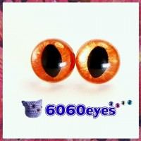 1 Pair  Hand Painted Copper Gold Cat Eyes Safety Eyes Plastic Eyes