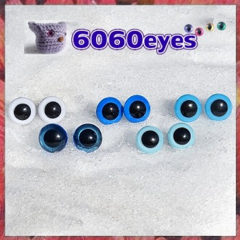 5 PAIRS 12mm Blue-White MIX Plastic eyes, Safety eyes, Animal Eyes, Round eyes
