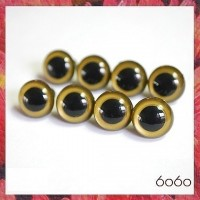 5 PAIRS 12mm Gold Plastic eyes, Safety eyes, Animal Eyes, Round eyes