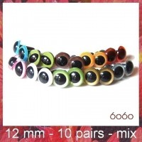 10 PAIRS 12mm Mixed Colors Plastic eyes, Safety eyes, Animal Eyes, Round eyes