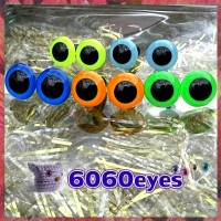 5 PAIRS 12mm LT BLUE-NEON MIX Plastic eyes, Safety eyes, Animal Eyes, Round eyes