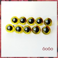 5 PAIRS 12mm Transparent Yellow Plastic eyes, Safety eyes, Animal Eyes, Round eyes