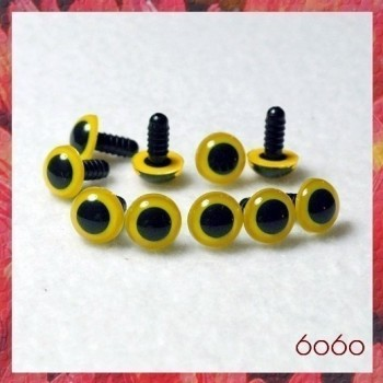 5 PAIRS 12mm Yellow Plastic eyes, Safety eyes, Animal Eyes, Round eyes