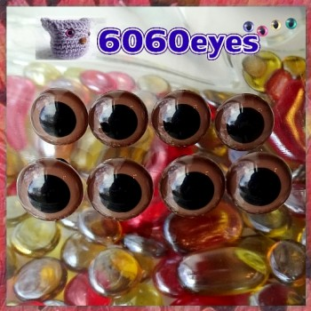 4 PAIRS 13.5mm BROWN Plastic eyes, Safety eyes, Animal Eyes, Round eyes