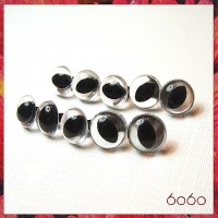 5 PAIRS 15mm Clear Plastic Cat eyes, Safety eyes, Animal Eyes, Round eyes