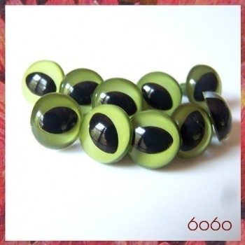 5 PAIRS 15mm Olive Green Plastic Cat eyes, Safety eyes, Animal Eyes, Round eyes