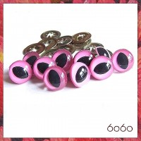 5 PAIRS 15mm Pink Cat eyes, Safety eyes, Animal Eyes, Round eyes