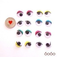 8 PAIRS 15mm Mixed Colors Printed Plastic Glue-on eyes, Craft eyes, Animal Eyes, Round eyes
