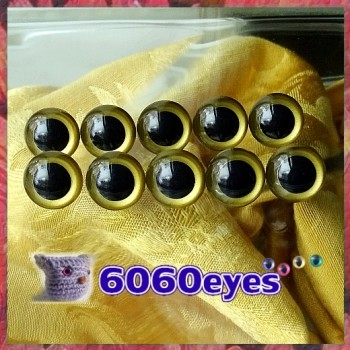 5 PAIRS 15mm Gold colored eyes, Safety eyes, Animal Eyes, Round eyes
