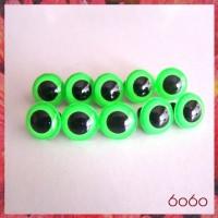 5 PAIRS 15mm Neon Green Plastic eyes, Safety eyes, Animal Eyes, Round eyes