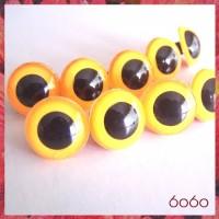 5 PAIRS 15mm Neon Orange Plastic eyes, Safety eyes, Animal Eyes, Round eyes