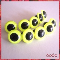5 PAIRS 15mm Neon Yellow Plastic eyes, Safety eyes, Animal Eyes, Round eyes