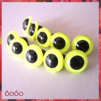 5 PAIRS 16.5mm Neon Yellow Plastic eyes, Safety eyes, Animal Eyes, Round eyes