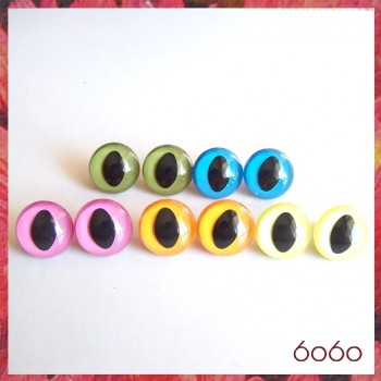 5 PAIRS 18mm Mixed Color Plastic Cat eyes, Safety eyes, Animal Eyes, Round eyes (18MC)