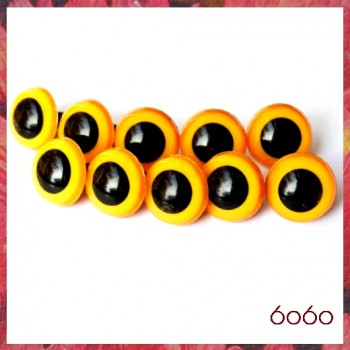 5 PAIRS 18mm Mango-Yellow Plastic eyes, Safety eyes, Animal Eyes, Round eyes