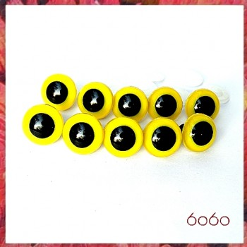 You Coose 1-5 PAIRS 24mm Yellow Plastic eyes, Safety eyes, Animal Eyes, Round eyes