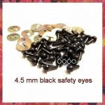 10 Pairs 4.5mm SOLID BLACK eyes