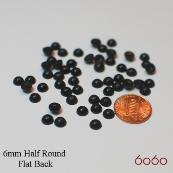 25 Pairs 6mm Half Round BLACK Plastic eyes, Glue-on eyes, Animal Eyes, Round eyes