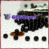 60 Pairs 6mm BLACK bead eyes, Plastic eyes, Craft eyes,  Animal Eyes, Round eyes